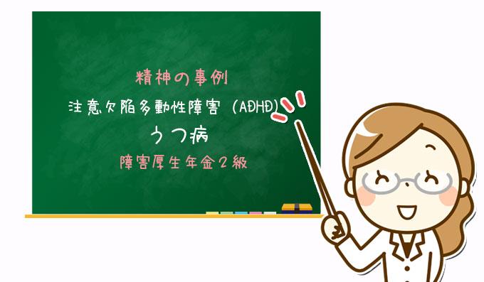 注意欠陥多動性障害(ADHD)・うつ病|障害厚生年金2級